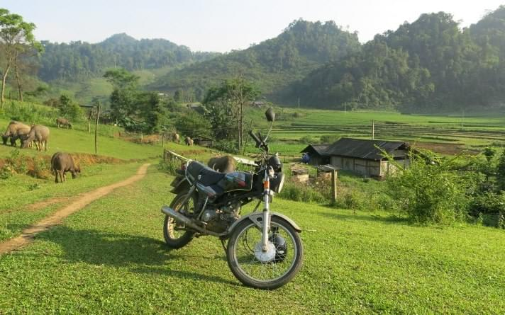pu luong national park, mai chau, vietnam, rice fields, motorbike