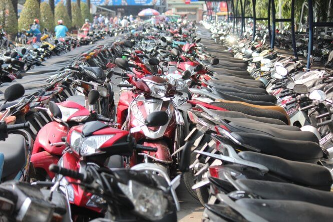 Parking space of motorbikes