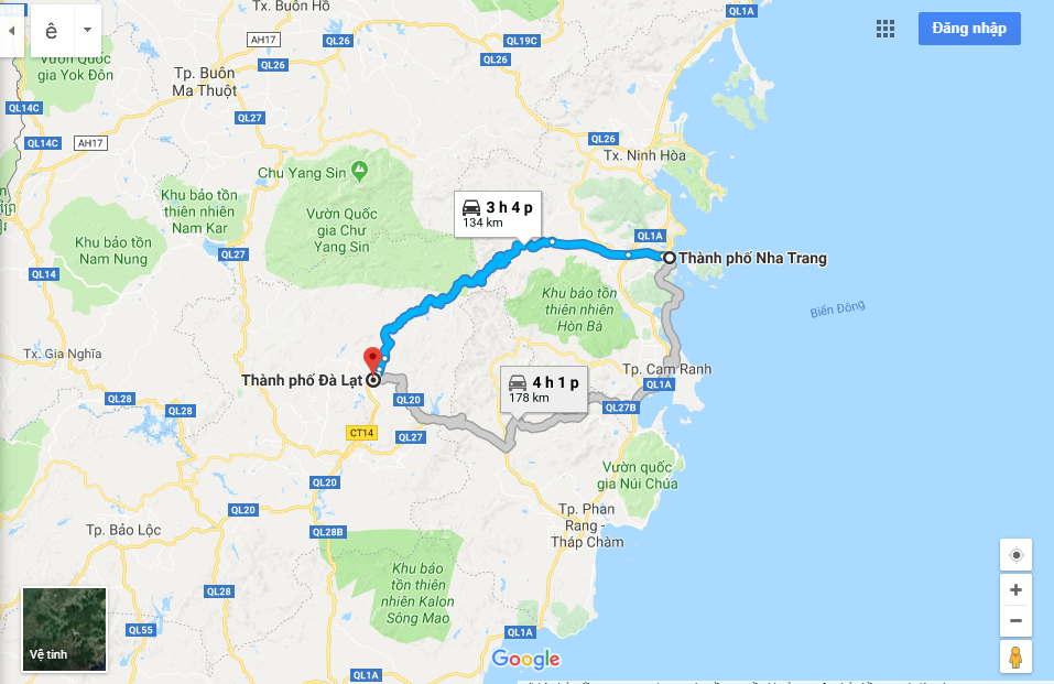 Roadmap form Dalt to Nha Trang by motorbikes
